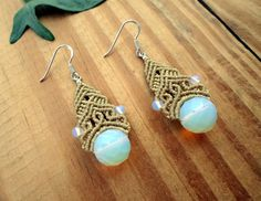 Opalite macrame earrings, boho earrings, micro macrame, fairy earrings, macrame…