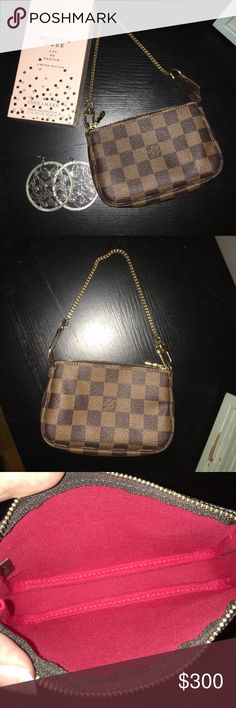 Louis Vuitton Damier Make it a small handbag or attach it to your Neverfull. Authentic Louis Vuitton Damier Ebene leather pouch with gold hardware. Made in France. Date Code: Louis Vuitton Bags Clutches & Wristlets