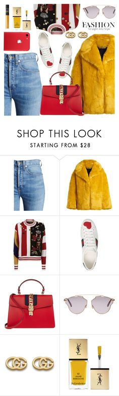 """""""gucci style"""" by freshprincesse ❤ liked on Polyvore featuring RE/DONE, Diane Von Furstenberg, Dolce&Gabbana, Gucci, Christian Dior, Yves Saint Laurent and NARS Cosmetics"""