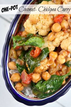 Recipe for Coconut Chickpea Curry made in just one pot. Great, easy vegetarian dinner recipe served over rice or quinoa. Photographs included.