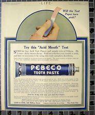 A-1912 PEBECO TOOTH PASTE TEETH DENTIST DENTAL HYGIENE HEALTH MEDICAL ART AD FC0