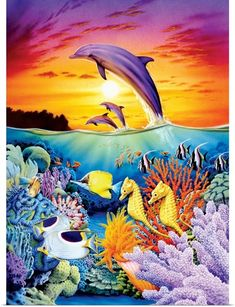 Robin Koni Poster Print Wall Art Print entitled Seahorse Dolphins, None Dolphin Painting, Dolphin Art, Underwater Painting, Wall Art Prints, Poster Prints, Framed Prints, Canvas Prints, Dolphin Images, Water Animals