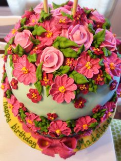 Colorful fondant covered faberge egg cake with royal icing flowers