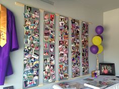 Awesome #Graduation #Photo #Display!  Magnet boards -photos are posted with tiny magnets!