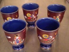"""5 Asian Painted Porcelain China Cups Signed Scene Ship Rick Shaw 4"""" Vintage  