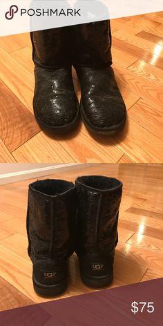 Sparkle Black Short UGG Boots Sparkle Black Short UGG Boots UGG Shoes