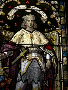 Lerwick Town Hall: stained glass window: King James III —Striking young king whose appearance—endowed with noble graces—depicts physically what all one wishes for in the temperament of their king. Should the actual likeness be less attractive is not the point as long as his temperament reflects all the Godly attributes of a Christian Monarch.