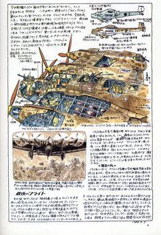 More amazing Miyazaki sketches. for air ships Manga Art, Anime Art, Studio Ghibli Art, Spaceship Concept, Girls Anime, Hayao Miyazaki, Cartoon Sketches, Technical Drawing, Dieselpunk