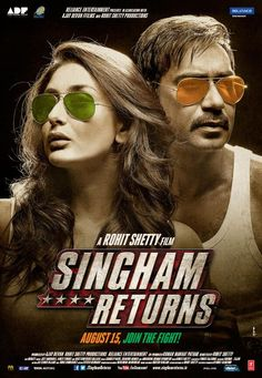 SINGHAM RETURNS First Look Posters | Kareena Kapoor Khan, Ajay Devgn | http://www.fallinginlovewithbollywood.com/2014/07/singham-returns-first-look-posters.html