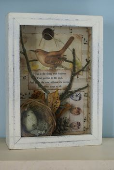 """The bird a nest, the spider a web, man friendship."" ~William Blake~ (click any photo to enlarge for better viewing) I do apologize for t. Bird Nest Craft, Bird Crafts, Nature Crafts, Bird Nests, Shadow Box Art, Decoupage, Found Art, Assemblage Art, Vintage Birds"