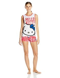Hello Kitty Womens Word Print Short Pajama Set WhiteRed Large >>> You can find more details by visiting the image link.