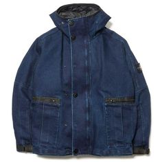 stone island Polypropylene Denim Detachable Primaloft® Lining Hooded Jacket