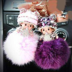 Fine Car Key Meng Kiki Artificial Crystal Car Ornaments Lovely Meng Qiqi Automobile Rearview Mirror Pendant Lady key ring