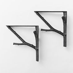 "Branch Brackets | West Elm      8""w x 2.25""d x 8""h.     Aluminum.     Hardware included.     Set of 2.     Made in India. 41"