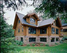 logs w/ chinking; colored windows