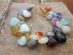 "8"" Full Strand Multi Gemstones  Pear Shape  Briolette, Gemstone beads ,100% Natural, At Factory Price,(Item ID:- E-2684) by JaiVyavsayBeads on Etsy"