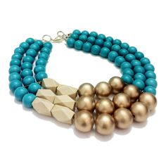 """Turquoise , Faceted beige and Gold painted wood beads: Create""""s this Thick Bib Necklace. #History+Industry"""
