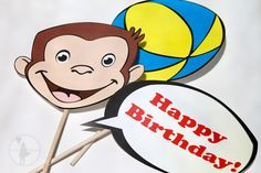 Curious George Party Photo Booth  Props Package: Printable Edition. $12.00, via Etsy.