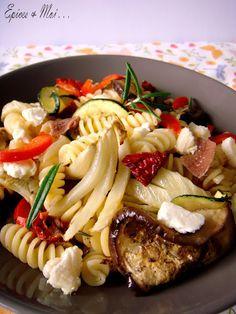 Pâtes aux légumes grillés, anchois et crottin - Épices & moi