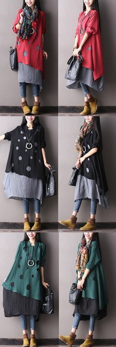 BUYKUD-Women cotton autumn Loose waist dress with long seelve.Excellent condition. would you like it? have a look on our shop buykud.com