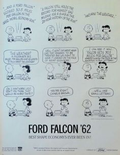 1962 Orig Print Ad Ford Falcon '62 Peanuts Comic Strip Charlie Brown Lucy
