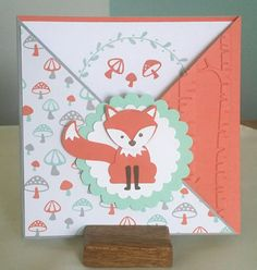 Foxy Friends.  Double fold card made with foxy friends by stampin up.