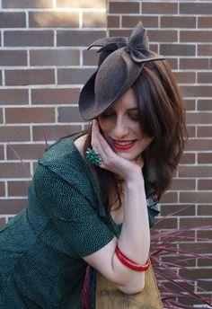 Michelle Vintage-Style Wool Felt Tilt Hat by TanithRowanDesigns