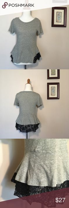 Free People Tulip Lace Peplum Top Green Black S Short sleeve tee with a black lace peplum detail. Muted olive green shirt. In great condition. Free People size small Free People Tops Blouses