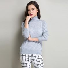Winter Women 22 Solid Color Knitted Turtleneck Cashmere Pullover Sweater Autumn Fashion Lady Knitwear Jumper Brand New