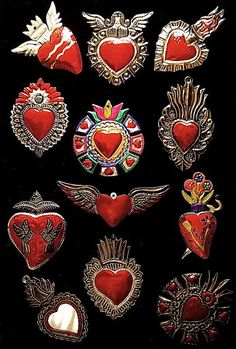 ♥ Amor y Corazones ♥ by CORAZON DE HOJALATA México traditional sacred heart emblem badge brooches from mexico for feast days,holy days and altars.day of the dead Do It Yourself Inspiration, Tin Art, I Love Heart, Thinking Day, Mexican Folk Art, Sacred Heart, Heart Art, Religious Art, Oeuvre D'art