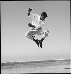 Sammy Davis Jr, dancing on a roof top in Hollywood 1947 - Phil Stern