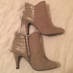 """Taupe booties NEVER WORN! Gray/taupe color with short heel approx 2-4"""". Perfect condition. Smoke free Household. Express Shoes Ankle Boots & Booties"""