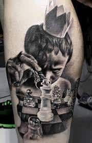 What does chess tattoo mean? We have chess tattoo ideas, designs, symbolism and we explain the meaning behind the tattoo. Sweet Tattoos, Love Tattoos, Beautiful Tattoos, Insane Tattoos, Crazy Tattoos, Chess Tattoo, Totenkopf Tattoos, Sick Tattoo, Gaming Tattoo