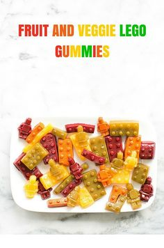 Fruit and Veggie Lego Gummies. Make this cute and playful kid snack kids will love with real fruit and vegetable juices and no added sugar added.