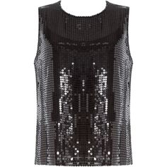 DKNY Sequin Embellished Sleeveless Top ($100) ❤ liked on Polyvore featuring tops, sleeveless top, black, sequin top, slimming tank top, silk tank, sequin tank top and slimming tank