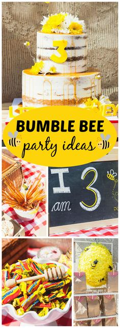 Here's a cute bumblebee picnic bee-day for a little honey! See more party ideas at CatchMyParty.com!