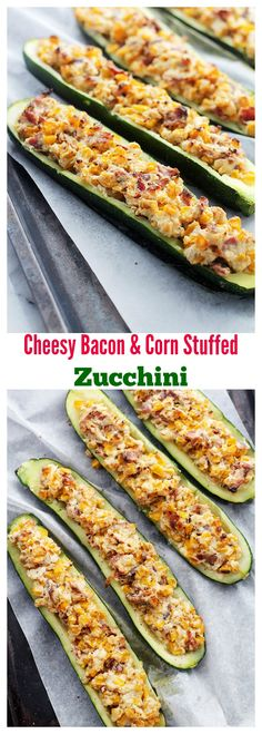 {USA} Cheesy Bacon and Corn Stuffed Zucchini | www.diethood.com | Zucchini halves stuffed with an insanely delicious mixture of cheese, bacon and corn!