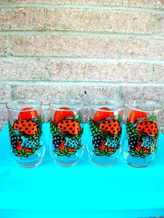Merry Mushroom Water Glass Set Orange Polka Dot Mushroom Glasses Set of 4 Water Cup. $15.00, via Etsy.