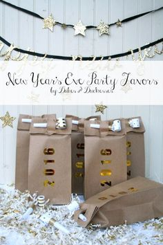 new year's eve party favor bag with champagne and blowers #ad #WorldMarketTribe