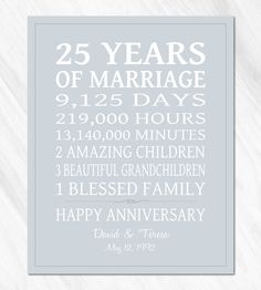SILVER 25th Anniversary Gift for Parents Personalized Print / CANVAS Anniversary Life Story Stats Marriage Subway Sign OOAK Custom Colors by PrintsbyChristine on Etsy https://www.etsy.com/listing/225880800/silver-25th-anniversary-gift-for-parents