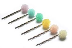 LAST CHANCE pastel flower bobby pins, flower girls bridesmaids bridal party wedding hair pins, blush yellow blue green lilac clear, set of 6 Pastel Flowers, Resin Flowers, Flowers In Hair, Flower Hair, Loose Hairstyles, Wedding Hairstyles, Hair Tuck, Wedding Hair Pins, Girls Hair Accessories
