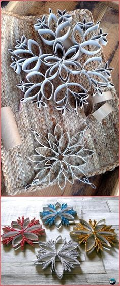 DIY TP Roll Snowflake Tutorial - Paper Roll Christmas Craft Ideas & Projects DIY Paper Roll Christmas Craft Ideas & Projects with Instructions, Christmas Ornaments, Christmas decorations, Christmas recycled kids crafts Paper Christmas Ornaments, Christmas Art, Christmas Projects, Holiday Crafts, Christmas Ideas, Homemade Christmas Crafts, Origami Ornaments, Christmas Island, Christmas Cactus