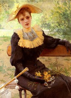 ▴ Artistic Accessories ▴ clothes, jewelry, hats in art - Vittorio Matteo Corcos   In the garden
