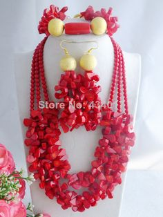 Fashion Red African Coral Beads Jewelry Set Nigerian Wedding Beads Jewelry Set Free Shipping L-072 $60.28