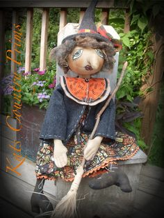 Primitive Halloween Witch Doll Pattern Instant Download Enchantress #145 HAFAIR