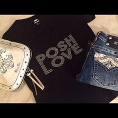 MEASUREMENTS ADDED! 💠BLING POSH LOVE TEES💠 Another round of custom tees are made! I chose black vneck old navy tees this time for 3 reasons... They wash up well, the are true to size or roomy, AND they are made in Haiti to help ladies in need of work!!! POSH LOVE #GIRLBOSS !👊🏻Bling is pricey... Please understand❣ other sizes, colors, and styles available upon request 🎉 Denim, Boots, & Bling  Tops Tees - Short Sleeve