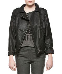 Black Perforated Moto Jacket