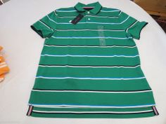 Men's Tommy Hilfiger Polo shirt stripe logo 7845152 Viridis pt 310 green S NWT #TommyHilfiger #polo