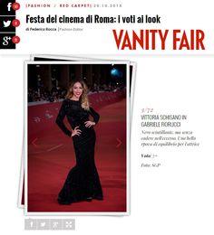 """Grazie di cuore a Vanity Fair Italia e Vanity Fair ❤️  Non era davvero """"scintillante"""" Vittoria Schisano sul red carpet con questo mio abito??  www.gabrielefiorucci.com  #fashion #redcarpet #romefilmfestival"""