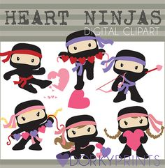 Heart Ninjas Digital Clip Art Set  Personal and by DorkyPrints, $3.50